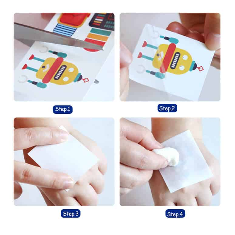 temporary tattoos and nail stickers for boys and girls แทททูและสติ๊กเกอร์เล็บ(ชมพู)