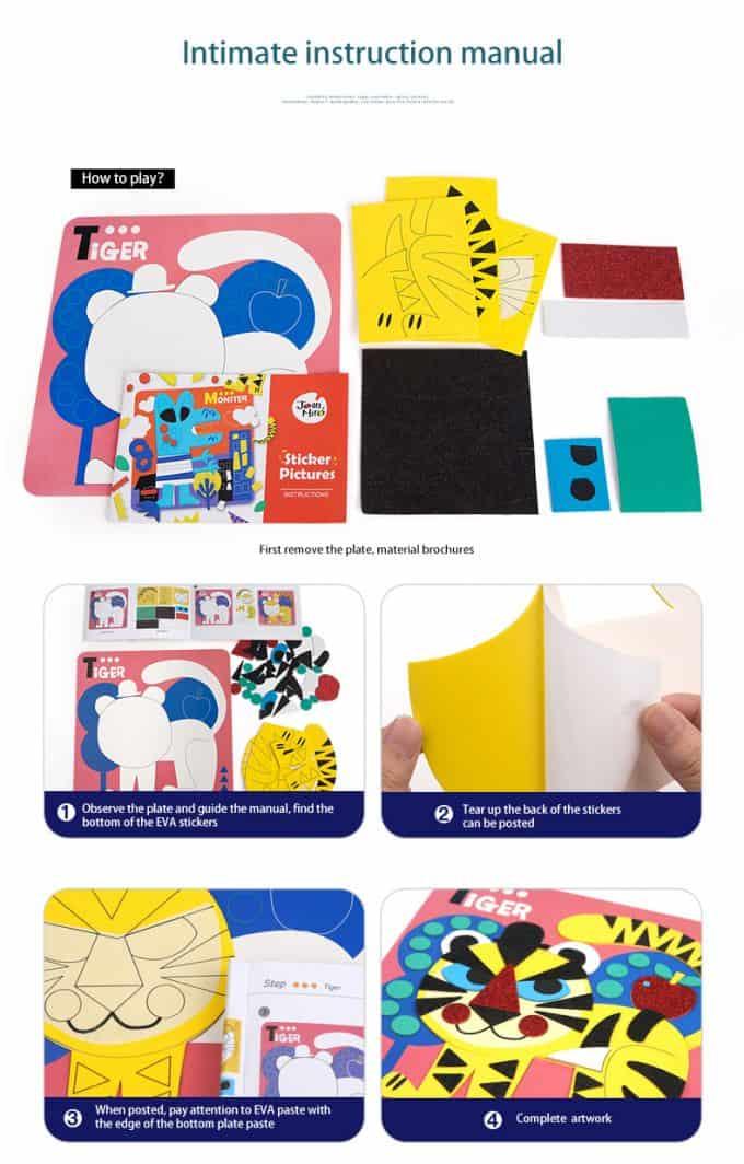 Kids' Cartoon EVA Mosaic Paintng ชุดสติกเกอร์โมเสก(การ์ตูน)