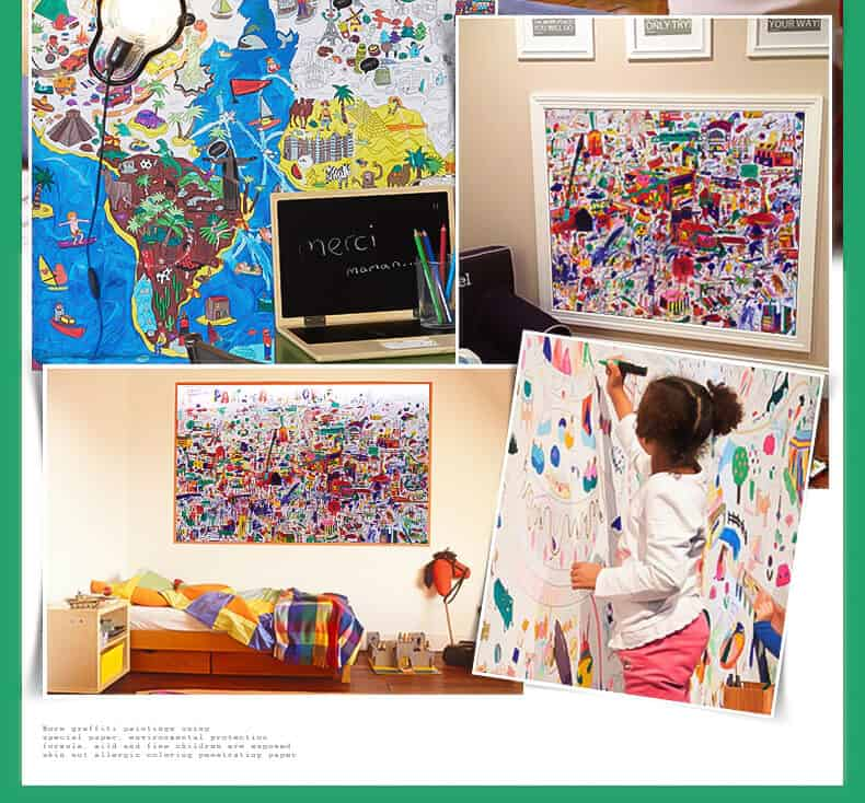 Joan Miro Super Giant Poster กระดาษระบายสีขนาดใหญ่สำหรับเด็ก