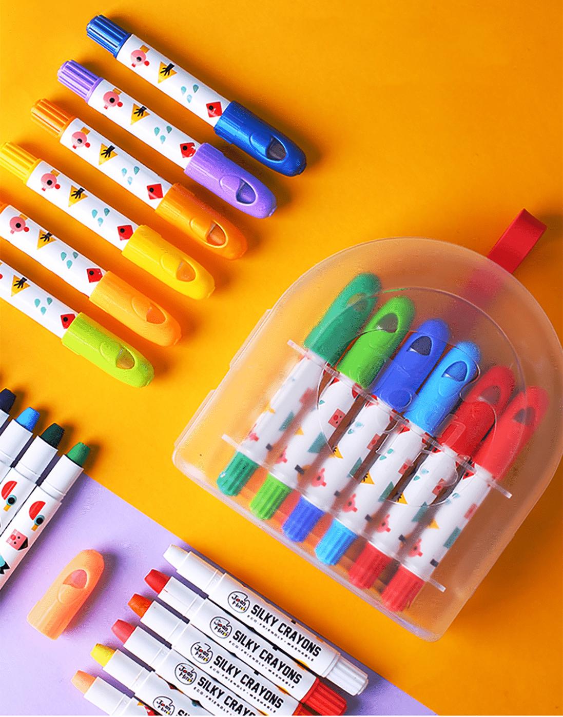 ดินสอสีเทียนปลอดสารพิษ-silky crayon 12 colors